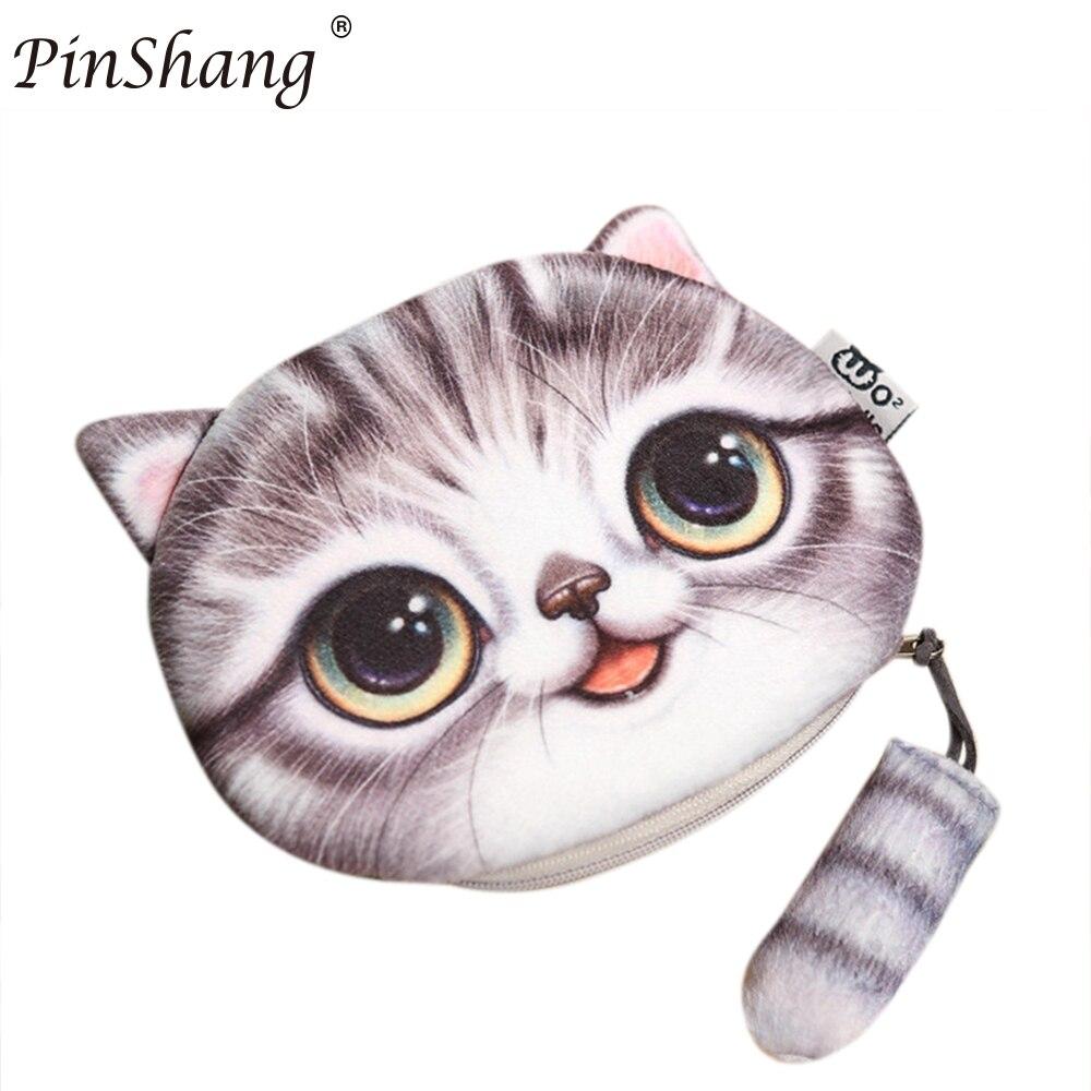 PinShang 3D Cute Cat Face Printing Coin Purses Women Cartoon Zipper Change Wallets Small Makeup Bag 2017 fashion function ZK30 new fashion cute cat face zipper case