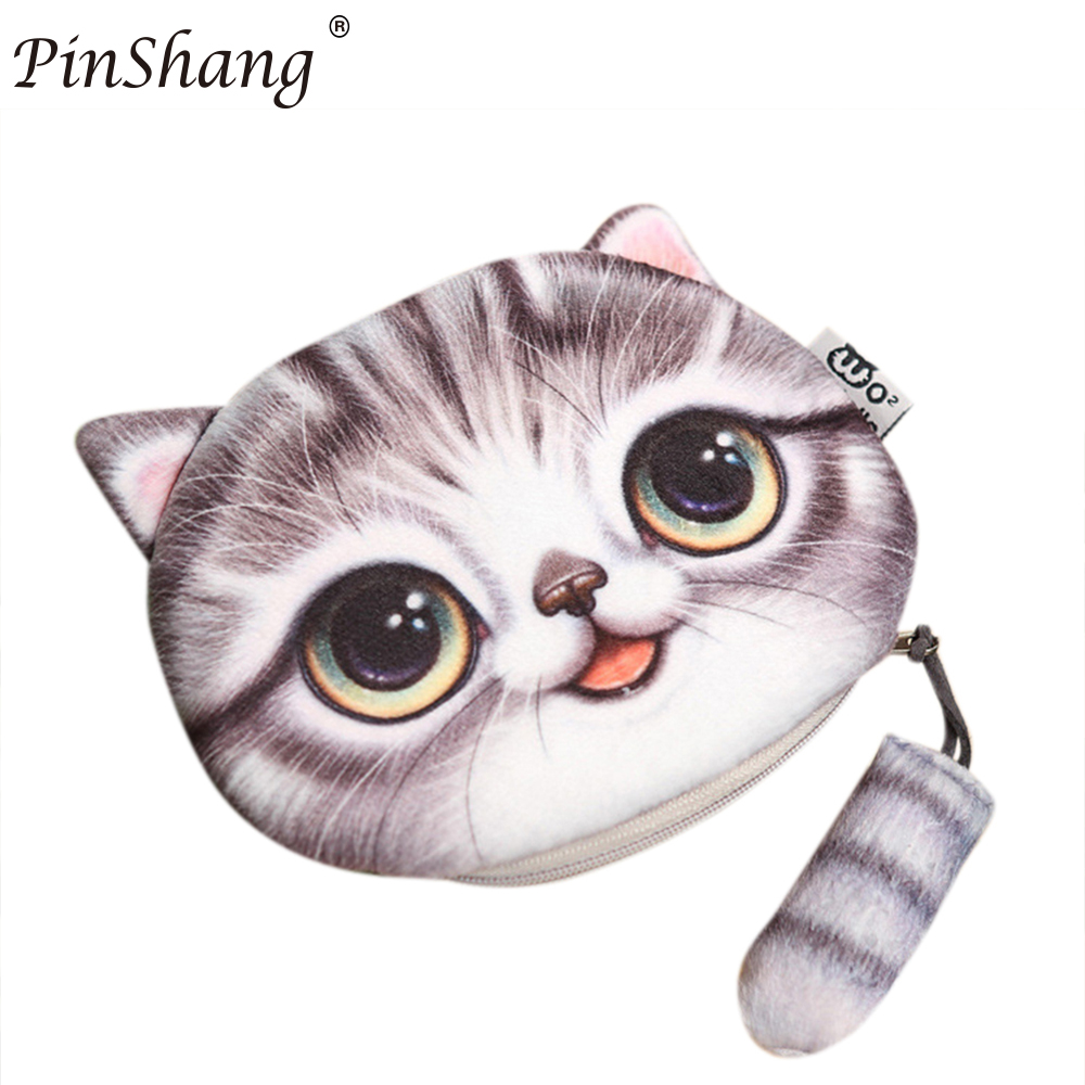 PinShang 3D Cute Cat Face Printing Coin Purses Women Cartoon Zipper Change Wallets Small Makeup Bag 2017 fashion function ZK30