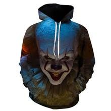 New Movie THE Pennywise IT Clown Stephen Kings It Sweatshirts 2019 Horror Hoodie Halloween Party Hip Hop Streetwear