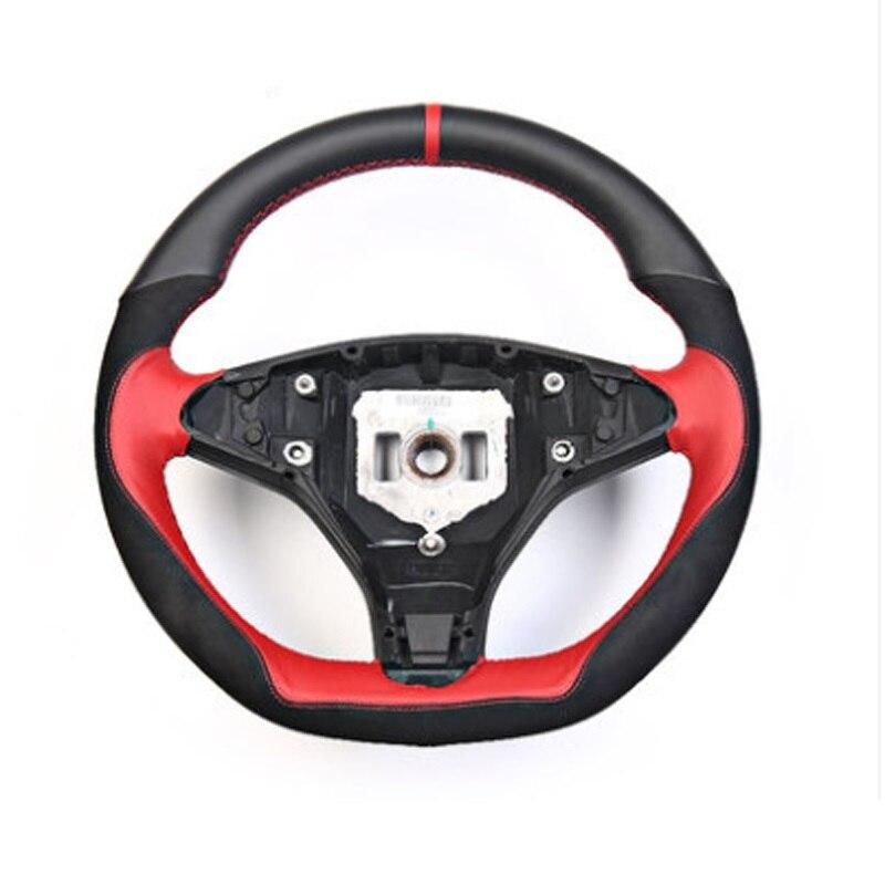 Ipoboo новые Нескользящие черный с красным кожаный рулевое колесо стежка на Обёрточная бумага чехол для Тесла модель S/X
