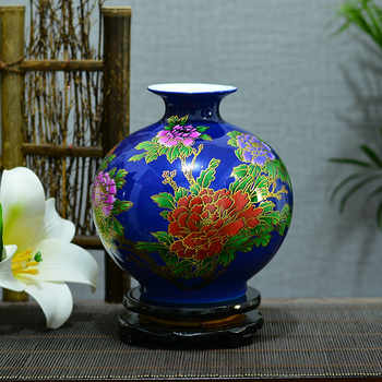 New Chinese Style Jingdezhen China Red crystal glaze flowers bloom vase modern home decoration handicraft living room decoration
