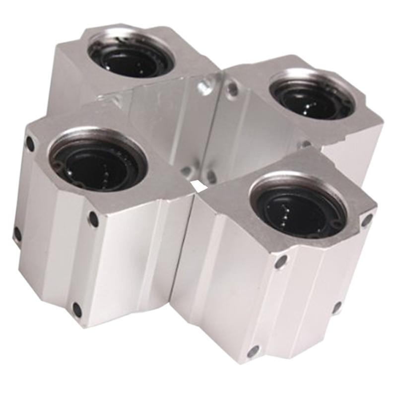 AUSD 4 Pcs SC20UU 20mm Aluminum Linear Motion Ball Bearing Slide Bushing for CNC scv25uu 25 mm linear motion ball bearing slide unit bushing