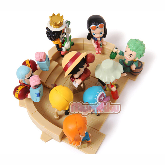 One Piece Figure Key chain High Quality PVC 9pcs Anime Full Set Model Toy