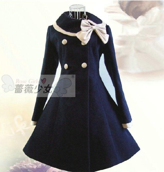 d5715c33c56be New Cute Wool Winter Sailor Lolita Dress Girls Winter Coat Princess ...