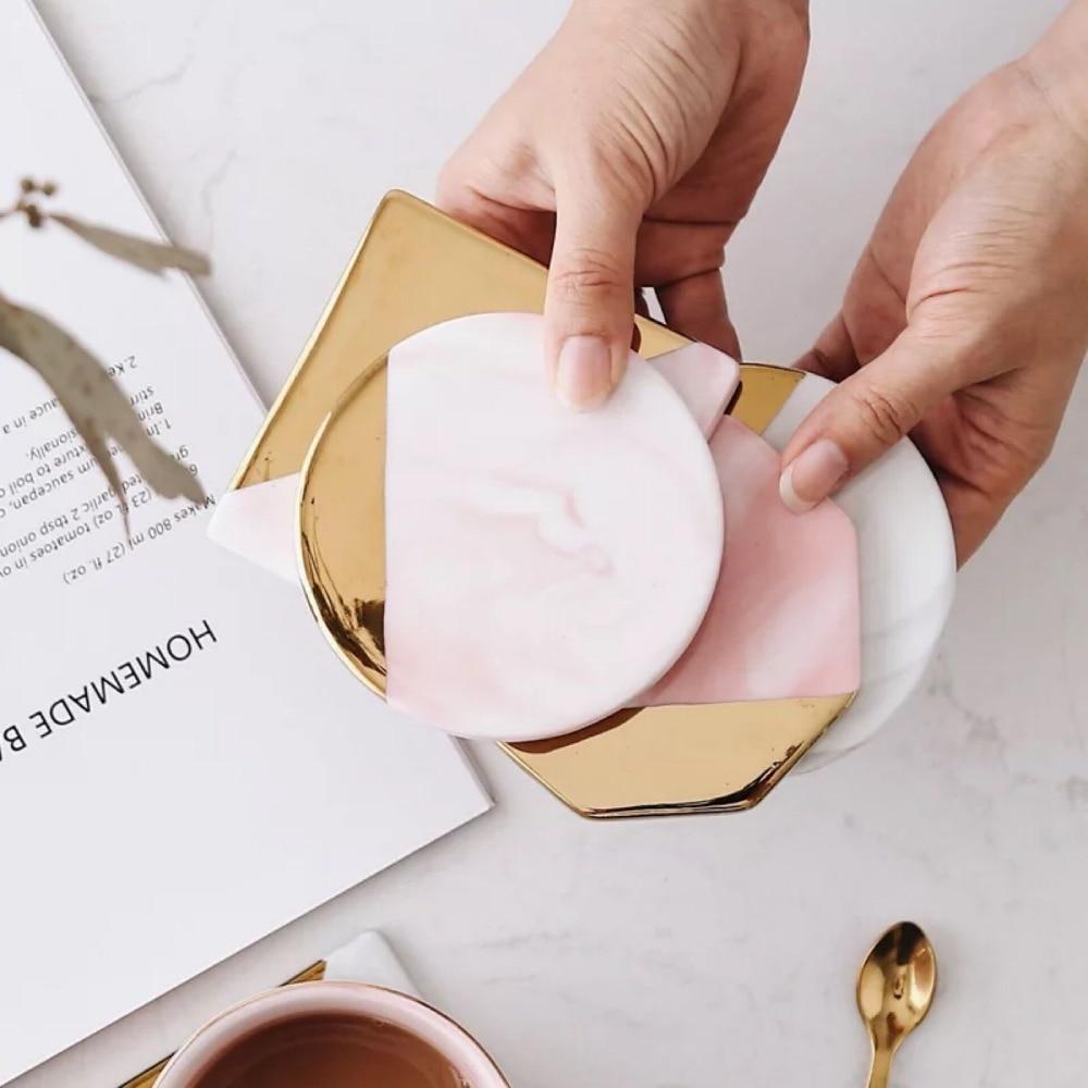 Hot Promo 488b Creative Pu Leather Marble Coaster Drink Coffee