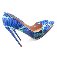 Free shipping  fashion women pumps Blue snake python printed pointed toe high heels sandals shoes boots wedding pumps 12cm 10cm h free shipping vogue sexy nightclub adult cosplay pole dancing shoes women thigh high boots fashion pointed toe tall boot 12cm