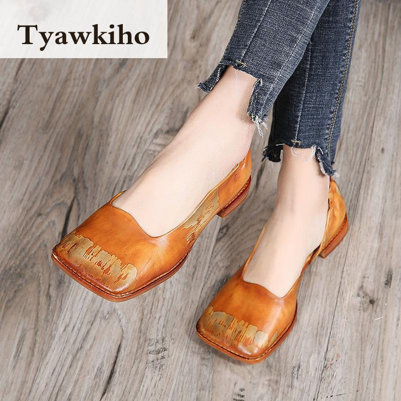 Tyawkiho Women Genuine Leather Pumps Yellow Square Toe Summer Shoes Low Heel Set Foot Lazy Shoes Retro Women Pumps Handmade 2018 tyawkiho genuine leather women sandals low heel white casual leather summer shoes 2018 handmade women leather sandal soft bottom
