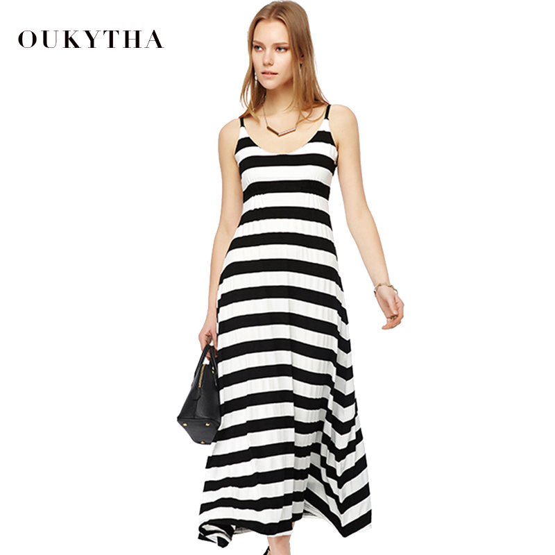 Oukytha Women New Summer V-neck Casual Long Black-White Striped Cotton Spaghetti Strap Dress Loose Vest Beach Dress J15095