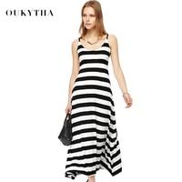 2015 Summer New Casual Women Long Maxi Black White Striped Dress Vest Dress Regular Hem Beach