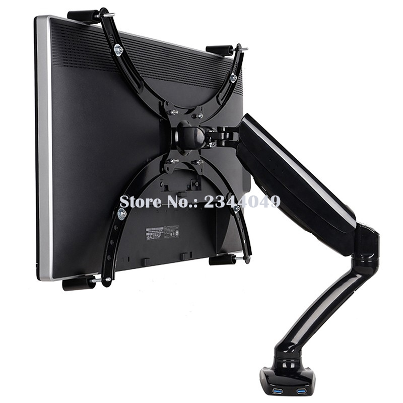 Loctek D5V Gas Spring Full Motion Desktop 10-27 LED LCD Monitor Holder For No Mounting Hole Monitor Mount Arm With USB Port