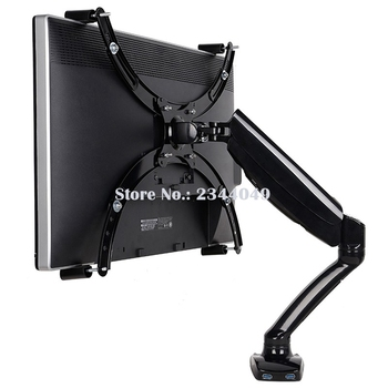 "Loctek D5V Gas Spring Full Motion Desktop 10""-27"" LED LCD Monitor Holder For No Mounting Hole Monitor Mount Arm With USB Port"