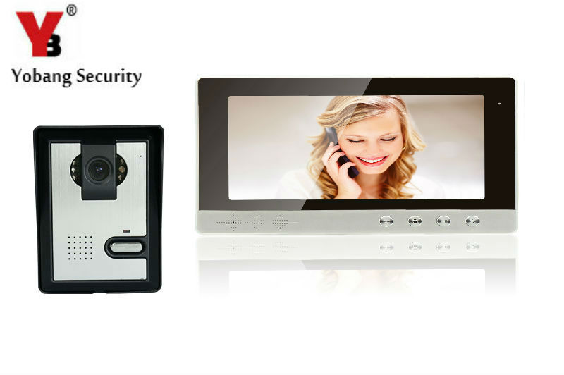 YobangSecurity 10inch Wire Video Door Phone Indoor Monitor Night Vision Waterproof Outdoor Camera with RainCover Intercom System 7inch video door phone intercom system for 5apartment tft lcd screen 5 flat indoor monitor with night vision cmos outdoor camera