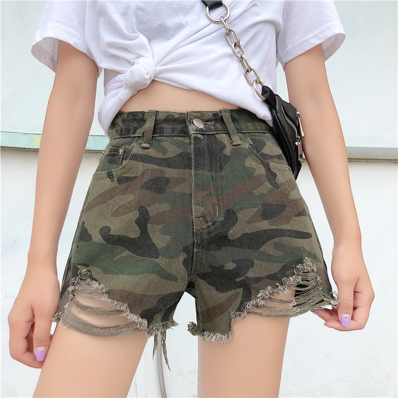 new arrival casual summer hot sale denim women   shorts   high waists fur-lined leg-openings Plus size sexy Camouflage   short   Jeans