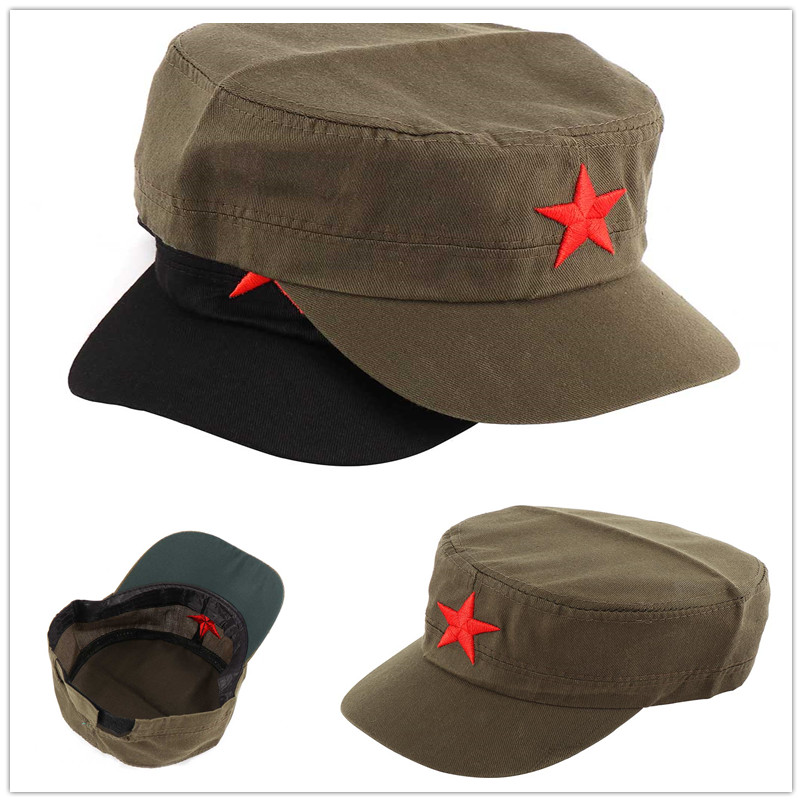 1pcs China Red Army Cotton Cap Hat Red Star Chairmen Mao Communist Party Men's Gift Personality Casual Visor