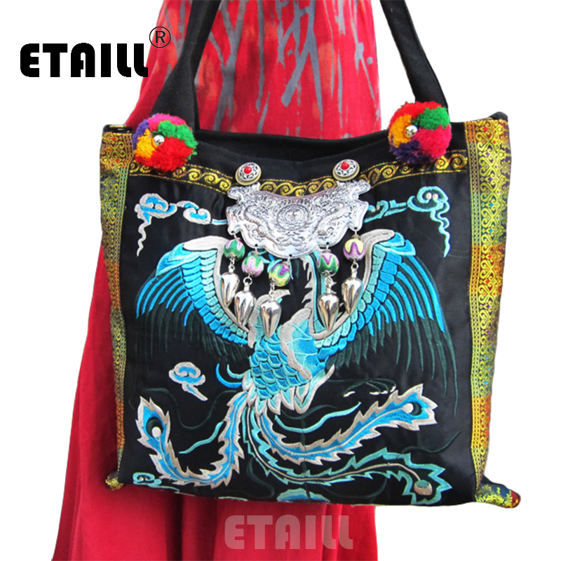 National Ethnic Phoenix Pattern Hmong Thai Boho Embroidered Women Handbag Casual Crossbody Shoulder Canvas Bags Sac a Dos Femme free shipping vintage hmong tribal ethnic thai indian boho shoulder bag message bag pu leather handmade embroidery tapestry 1018