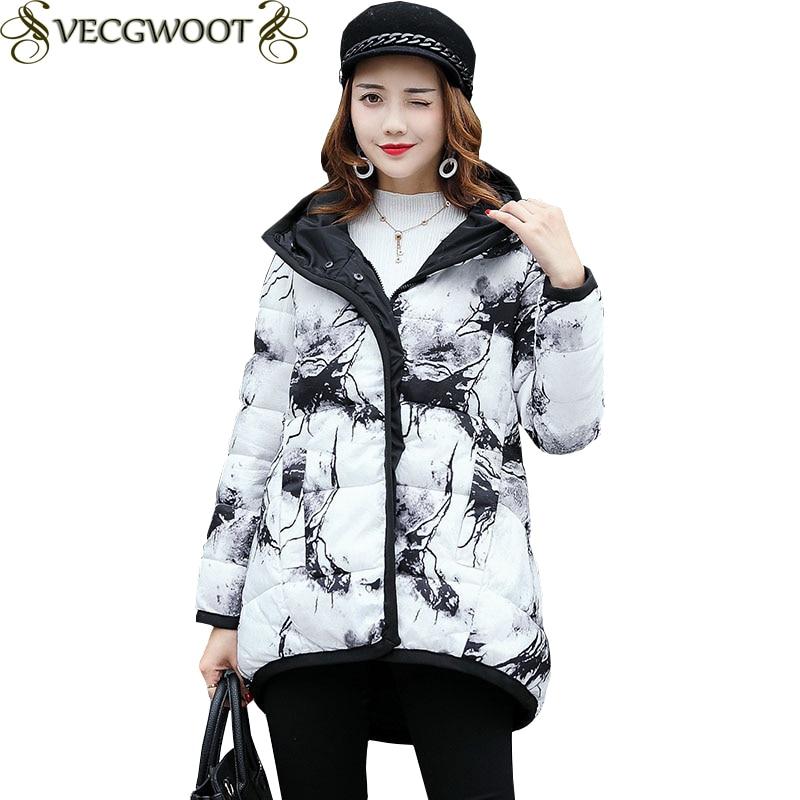Hiver Sleevess Nouveaux Longue Femmes Couleur White Taille À 2017 Chaud Veste Zipple Grande Ko122 Coton Solide Capuchon qxwIxYngFp