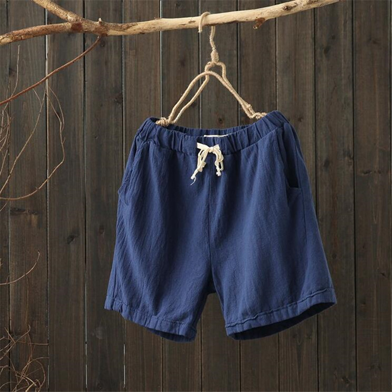 2019 cotton linen font b slim b font women shorts Summer Loose solid shorts women Elastic