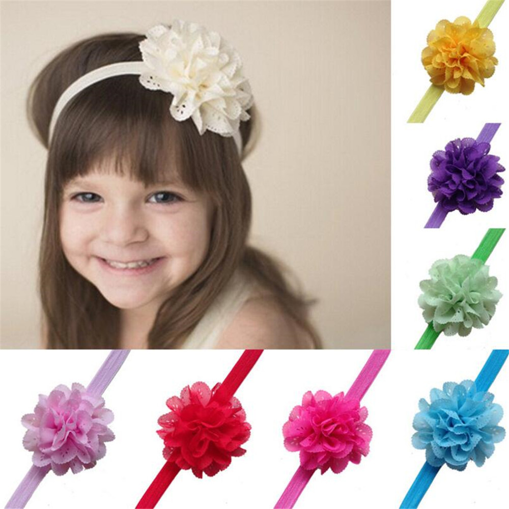Mhs Sun 10pcs 8mm Flower Baby Hairbands Handmade Children