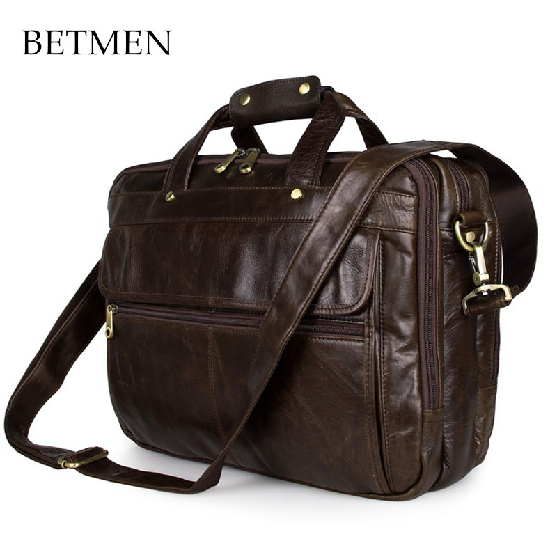 BETMEN Luxury Vintage Men Bag Genuine Leather Handbag Big Capacity Men Briefcase Business Laptop Bag Designer Brand