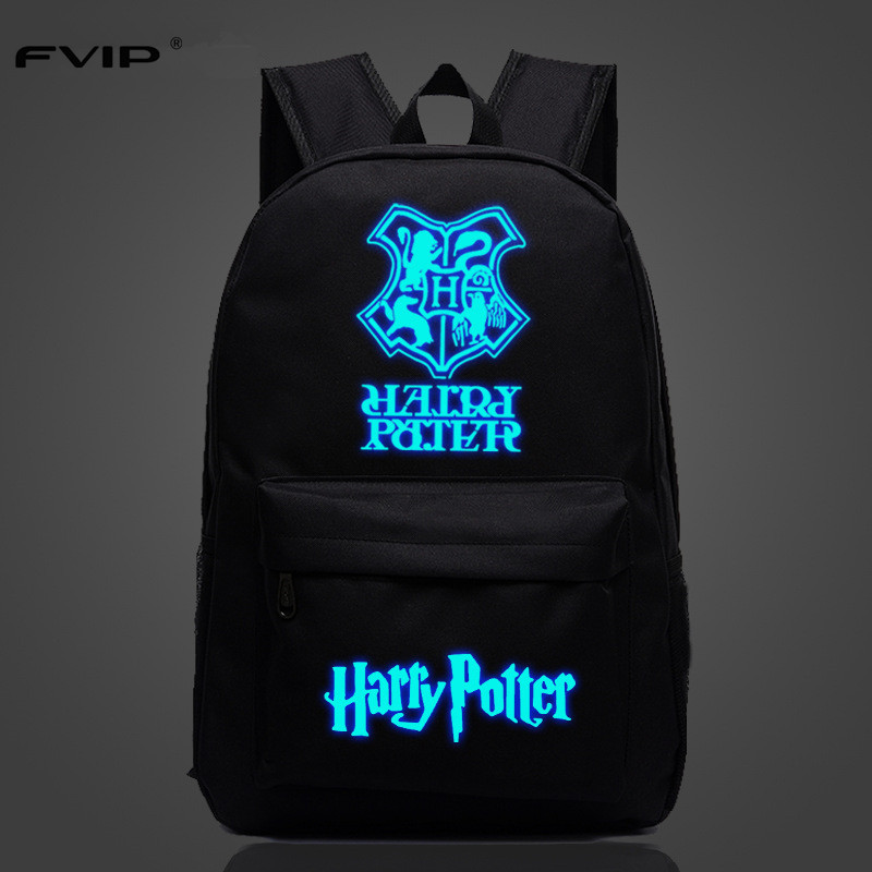 FVIP New Arrival Fashion Noctilucent Backpack Anime Harry Potter Luminous Teenagers Laptop Bag School Backpack sosw fashion anime theme death note cosplay notebook new school large writing journal 20 5cm 14 5cm