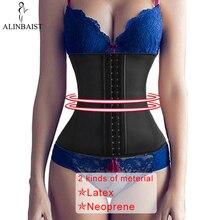 9 aço desossado mulher látex cintura trainer espartilhos longo torso perda de peso neoprene underbust esportes cinto corpo shaper shapewear