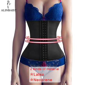 Image 1 - 9 aço desossado mulher látex cintura trainer espartilhos longo torso perda de peso neoprene underbust esportes cinto corpo shaper shapewear