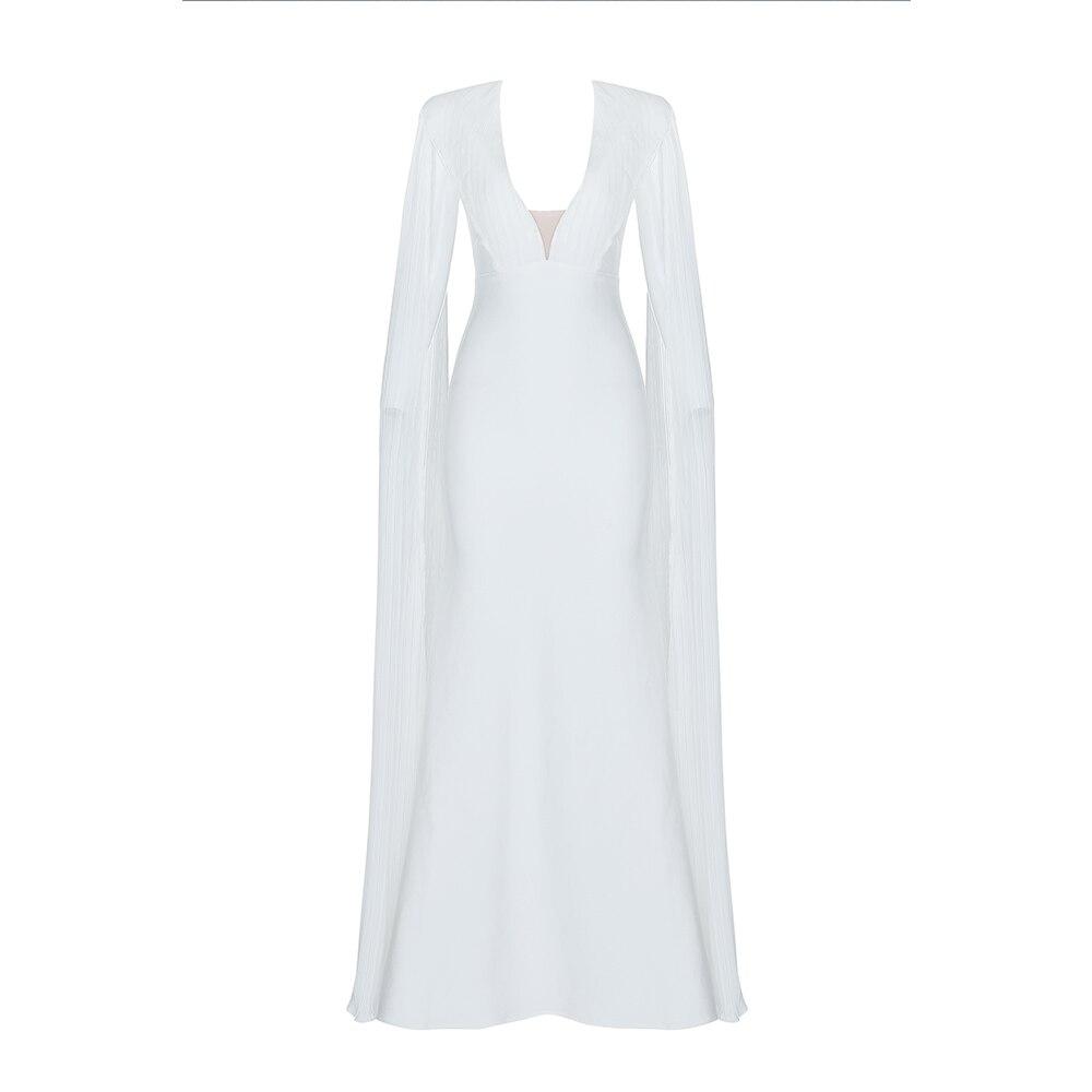 DEIVE TEGER глубоким v-образным вырезом белый сексуальное платье Для женщин с длинными рукавами вечерние платье для девочек элегантные вечерние ...