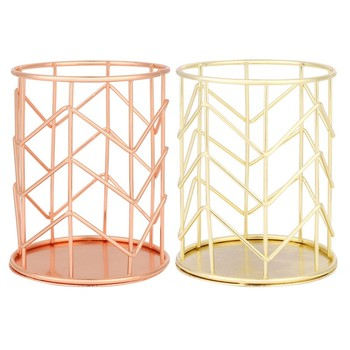 2019 Nordic Simplicity Rose Gold Metal Iron Storage Basket Combination Holder Desk Desktop Accessories Stationery Organizer Storage Baskets
