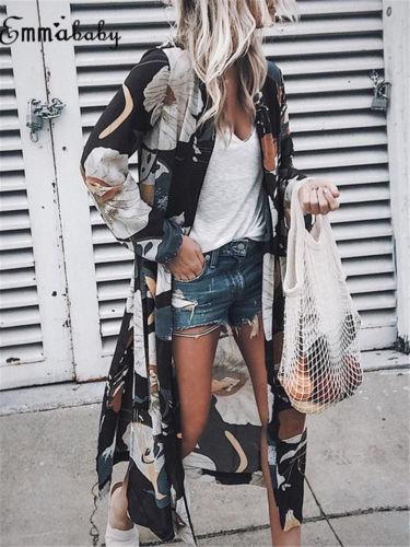 Женская свободная шаль с цветочным принтом, кимоно, блузка, длинный кардиган, шифоновое пальто, куртка