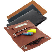 Top Grade Genuine Leather Hookah Cigarette Tobacco Pouch Case W Rolling Tip Paper Holder Slot Perfect