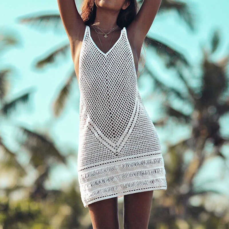 59b796f7fb ... 2019 New Sexy Beach Cover Up Bikini Crochet Knitted Swimwear Summer  Beach Wear Hollow Out Swimsuit ...
