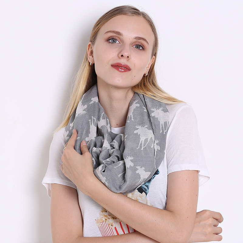 New Lady Animal Moose Neckband Christmas Reindeer  Print Scarf Voile Design Long Ladies Shawl Soft ScarvesFantastic Neckerchief