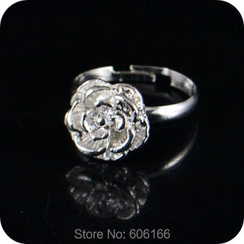 20x Silver Rose Flower Ring Enragement ring for Girl Women Party Wedding Fashion Jewelry image