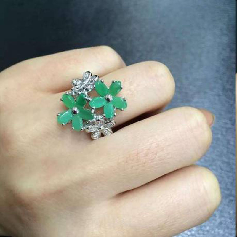 2017 Real Anillos Qi Xuan_Trend Jewelry_Colombian Green Stone Flower Rings_S925 Solid Silver Woman Rings_Factory Directly Sales