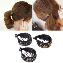 C MISM Women Vintage Ponytail Holders Metal Ring Chain Hairgrips Banana Hair Comb Clips Claw Round High Quality Hair Accessories(China)