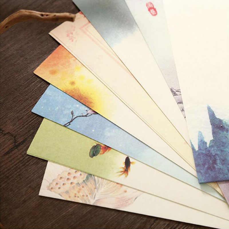 4 قطعة إلكتروني ورقة/2 قطعة المغلف الأحمر و الأرجواني كرافت ورقة مع بطاقة سكرابوكينغ هدية في النمط الصيني المغلف