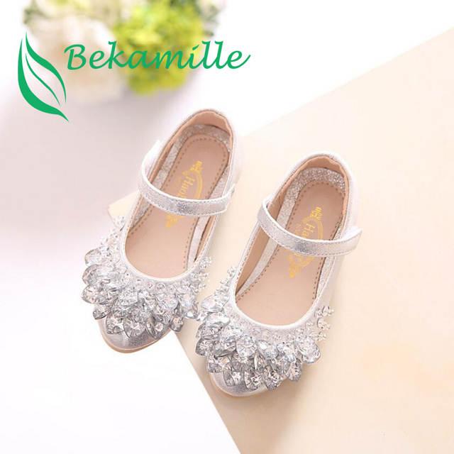 placeholder Bekamille Children Rhinestone Glitter Kids Girls leather Shoes  Princess Girls Sandals Toddler Big Girls Wedding Party 95b774cbd88c
