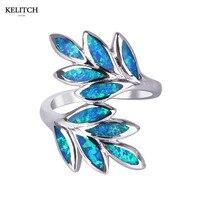 KELITCH Jewelry 1Pcs Newest Style Multi Color Leaf Shape Opal Ring Easy Wear Blue Fire Opal