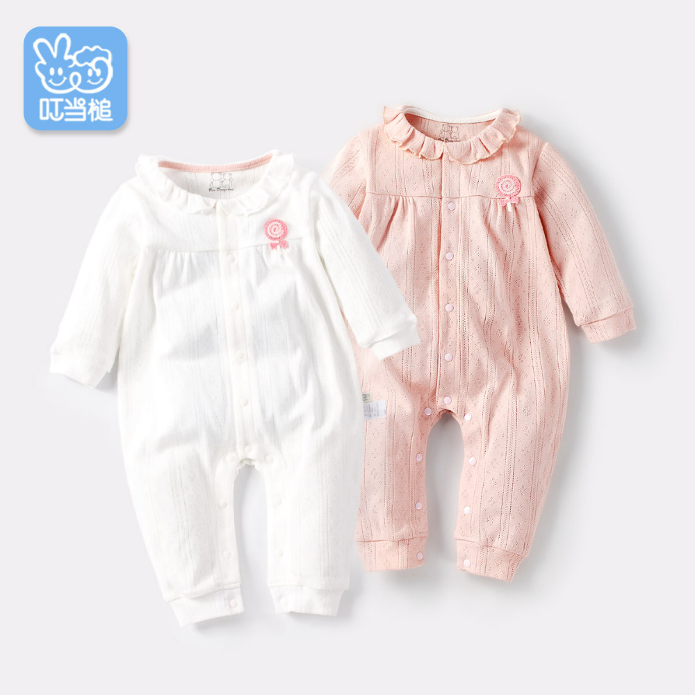 Dinstry 2018  spring and autumn Newborn baby girl Cotton Long sleeve Romper Baby Clothes dinstry newborn baby girl cotton romper jumpsuit long sleeved spring and autumn pink infant clothing clothes