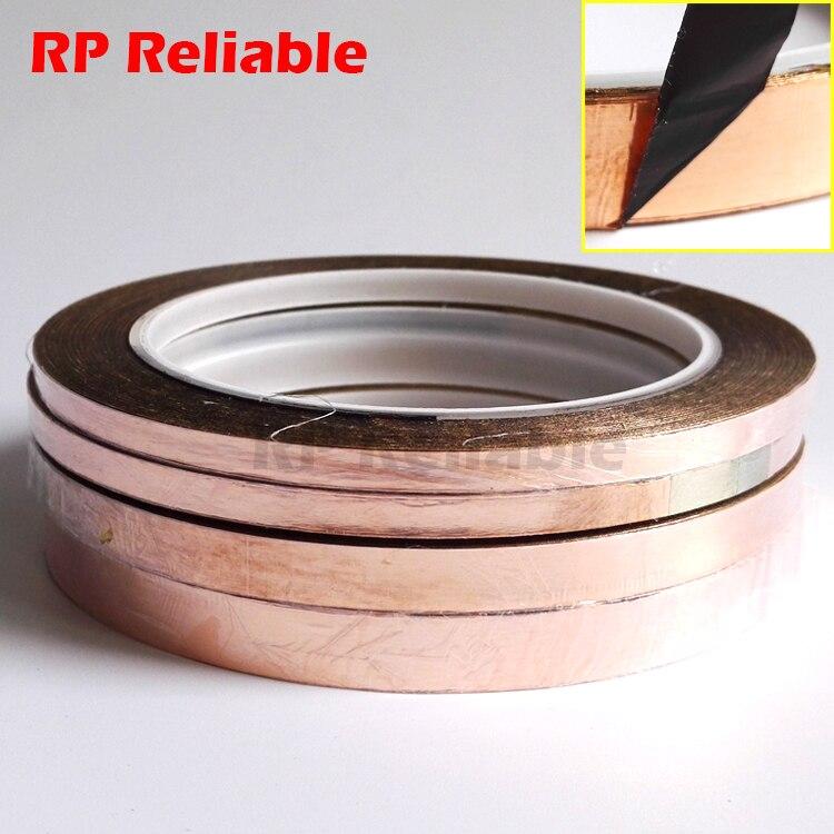 (5mm 6mm 8mm 10mm Width Choose) Black Glue Adhesive Copper Foil Tape For Glass Art, EMI Shielding, 20M/roll