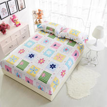160X200cm Russian size 100%Cotton Fitted Bed sheet set Mattress Cover with elastic Rubber Single Double Bed size Anti Slip