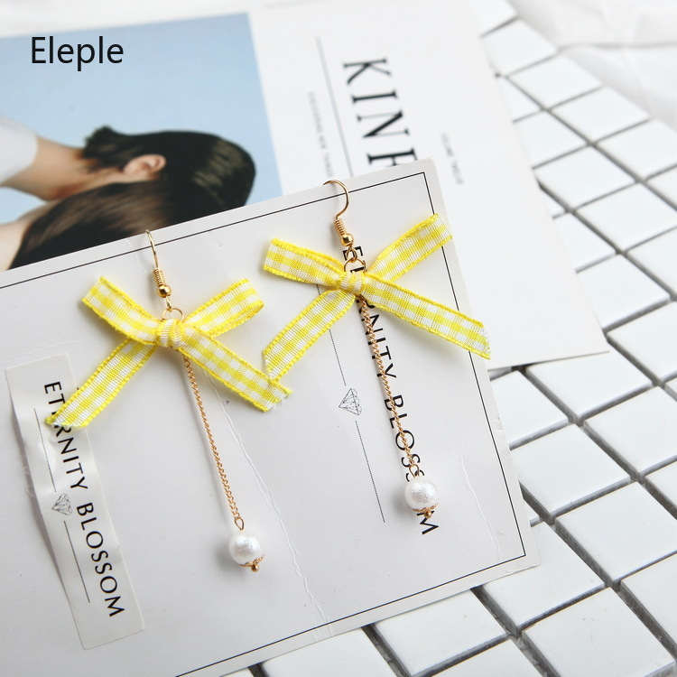 Eleple Fabric Yellow Butterfly Knot Cotton Pearl Long Earring Teens Cute and Sweet Earrings and Jewelry B1007 in Drop Earrings from Jewelry Accessories