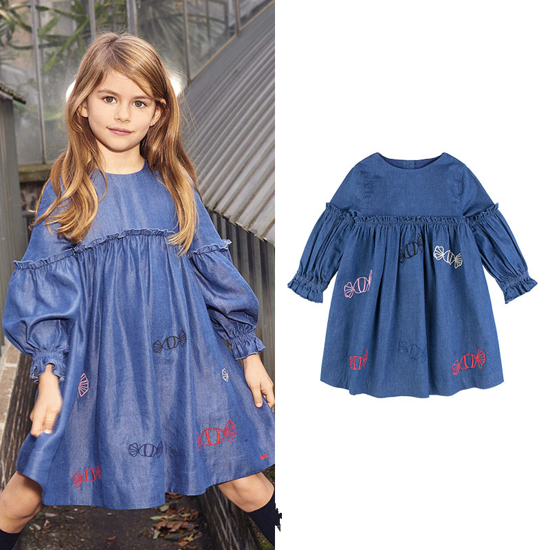 Brand girls dress Girls' Clothes Washing Thin Denim Candy Embroidery Russian Puff Sleeve Casual Denim dress uniquewho girls women floral denim shirt dress birds flowers embroidery dress long sleeve elastic waist ankle length shirtdress
