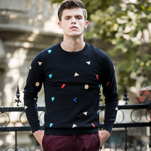 New Spring Fashion Brand clothing Casual Sweater men crewneck Slim Fit Mens Sweaters And Pullovers jacquard colourful sweater