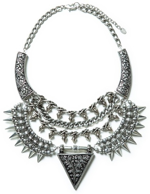 Brand punk rivet necklace spikes statement necklace for women alloy vintage necklaces & pendants fashion jewelry wholesale