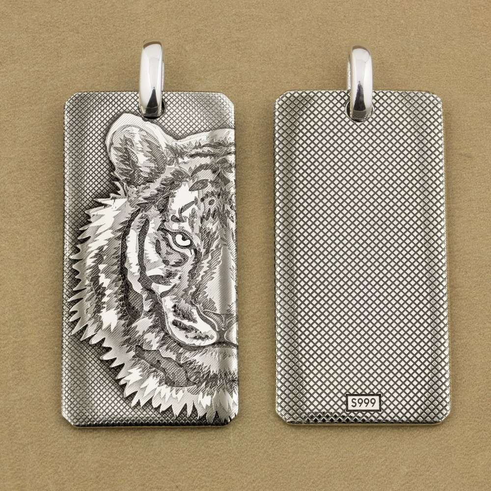 Deep Laser Engraved 999 Sterling Silver Tiger King DogTag High Details Mens Biker Punk Pendant 9X027S