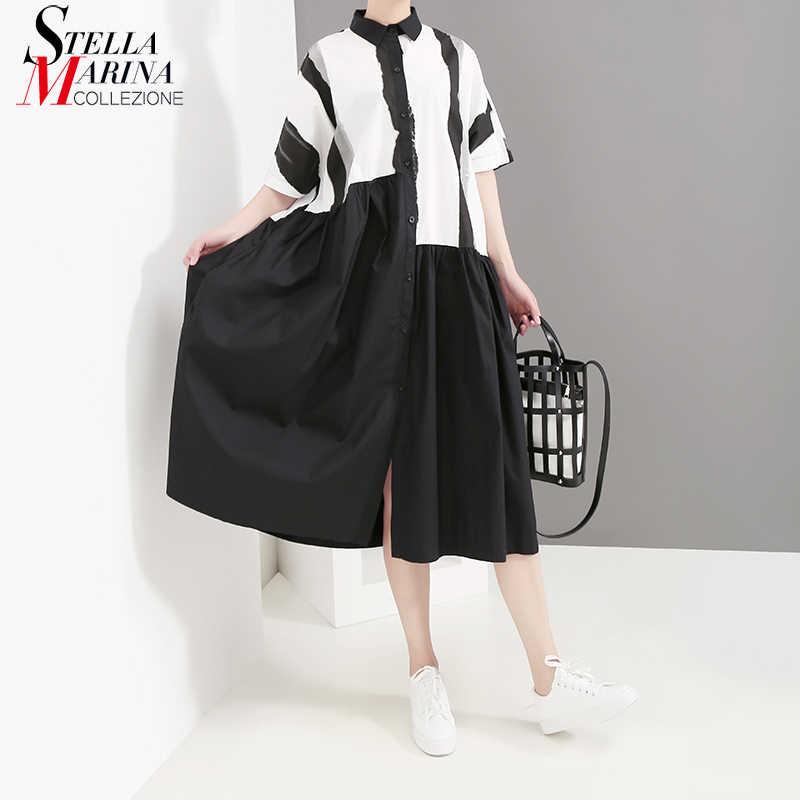 Женское платье составного кроя, черное платье большого размера с короткими рукавами в корейском стиле, модель 4957 на лето, 2019