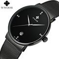 Marca de Luxo Data Relógio de Quartzo Impermeável Homens Casuais Esporte Relógios Masculino Relógio relogio masculino Relógio de Aço Inoxidável Preto Fino
