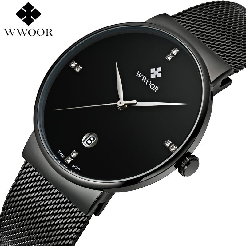 Prix pour Marque De Luxe Date Étanche Quartz Montre Hommes Casual Sport Montres Mâle Noir Montre En Acier Inoxydable Mince Horloge relogio masculino