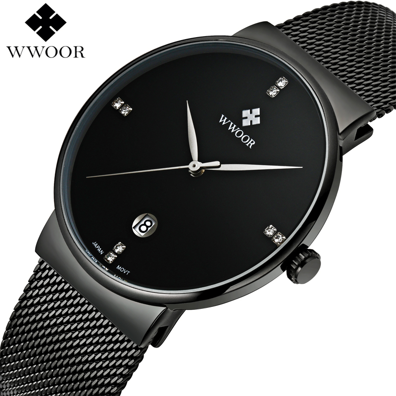 WWOOR Black Steel Mens Watches Quartz Waterproof Business Clock Lelaki jam tangan jenama Brand Luxury Men Sukan Watch relogio masculino